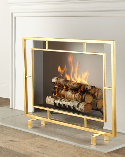 Shay Glass Fireplace Screen