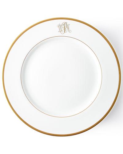 Ultra-White Script Monogram Charger Plate