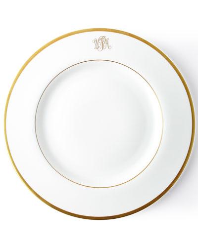 Ultra-White Script Monogram Dinner Plate