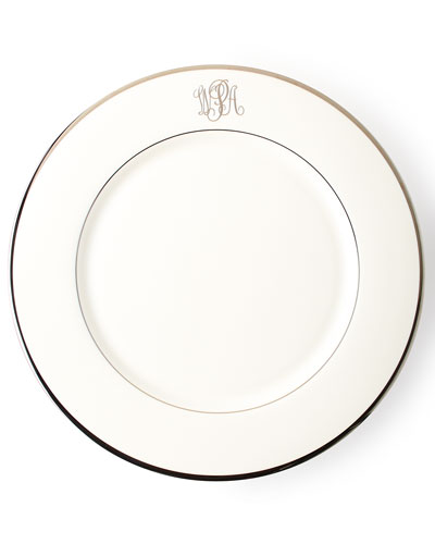 White Script Monogram Charger Plate