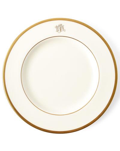 White Script Monogram Dessert Plate