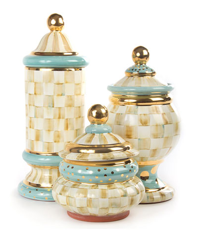 Parchment Check Globe Canister