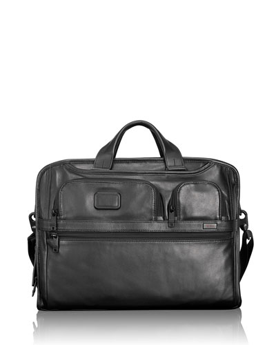 Alpha 2 Black Leather Compact Large Screen Laptop Brief