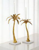 Mixed Palm Candleholders, 2-Piece Set