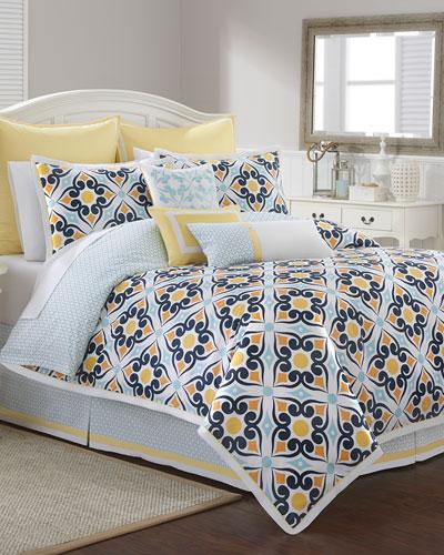 Savannah Tile-Print Queen 4-Piece Comforter Set