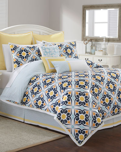 Savannah Tile-Print King 4-Piece Comforter Set