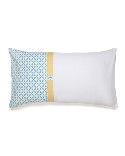 Savannah Tile-Print Pieced Pillow with Skipjack Emblem, 12