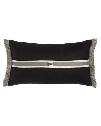 Black Pillow with Side Fringe, 15