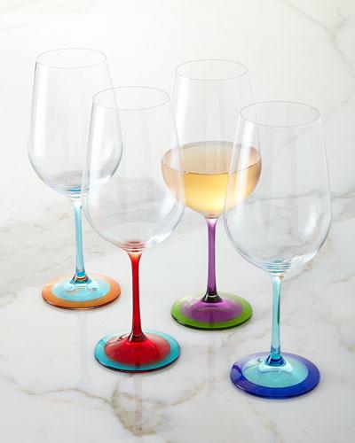 Color - Base Wine Glasses, 4 - Piece Set