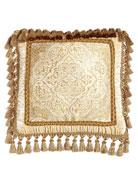 """Framed Medallion Pillow with Tassel Trim, 20""""Sq."""