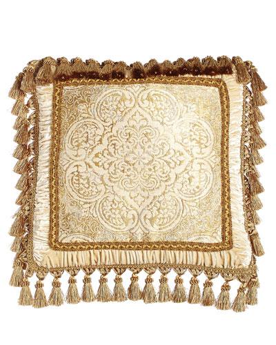 Framed Medallion Pillow with Tassel Trim, 20