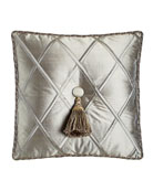 "Silk Diamond Pillow with Tassel, 18""Sq."