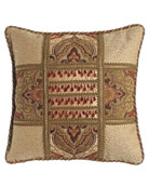 "Mediterrane Patch Pillow with Beaded Silk Center, 18""Sq."