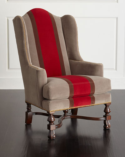 Red Colorblock Wing Chair