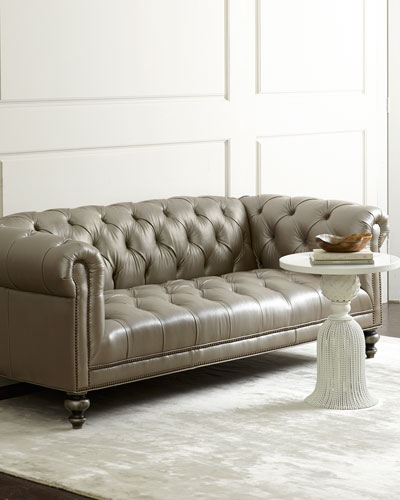 Morgan Gray Chesterfield Leather Sofa