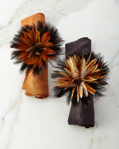 Two-Tone Ringtail Feather Napkin Ring