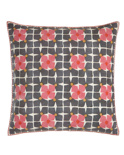 Harbar Floral Grid Block Print Pillow, 26