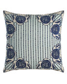 "Luha Pillow with Striped Center, 20""Sq."
