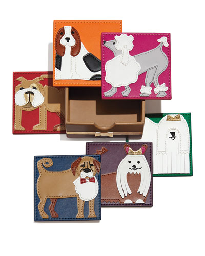 Pleather Pups Coasters, 6-Piece Set