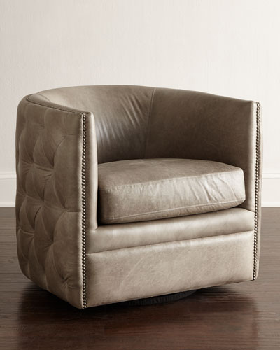 Abriola Leather Swivel Chair