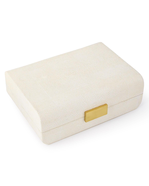 Aerin Clothing CREAM FAUX-SHAGREEN SMALL DECORATIVE BOX