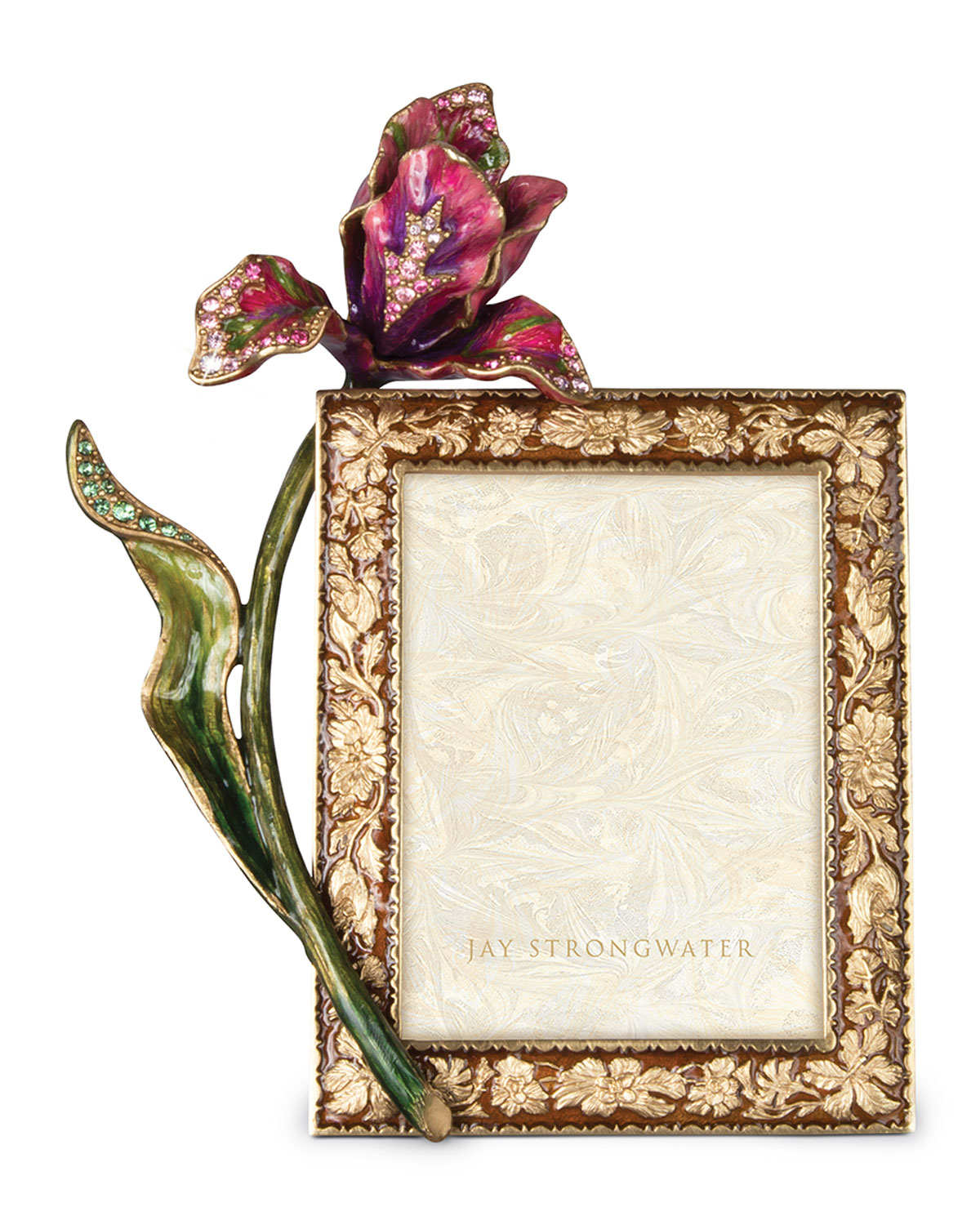 """Jay Strongwater Picture frames BROCADE FLORAL 3"""" X 4"""" PICTURE FRAME"""