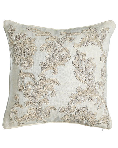 Embroidered Ivory Florenza Pillow, 18