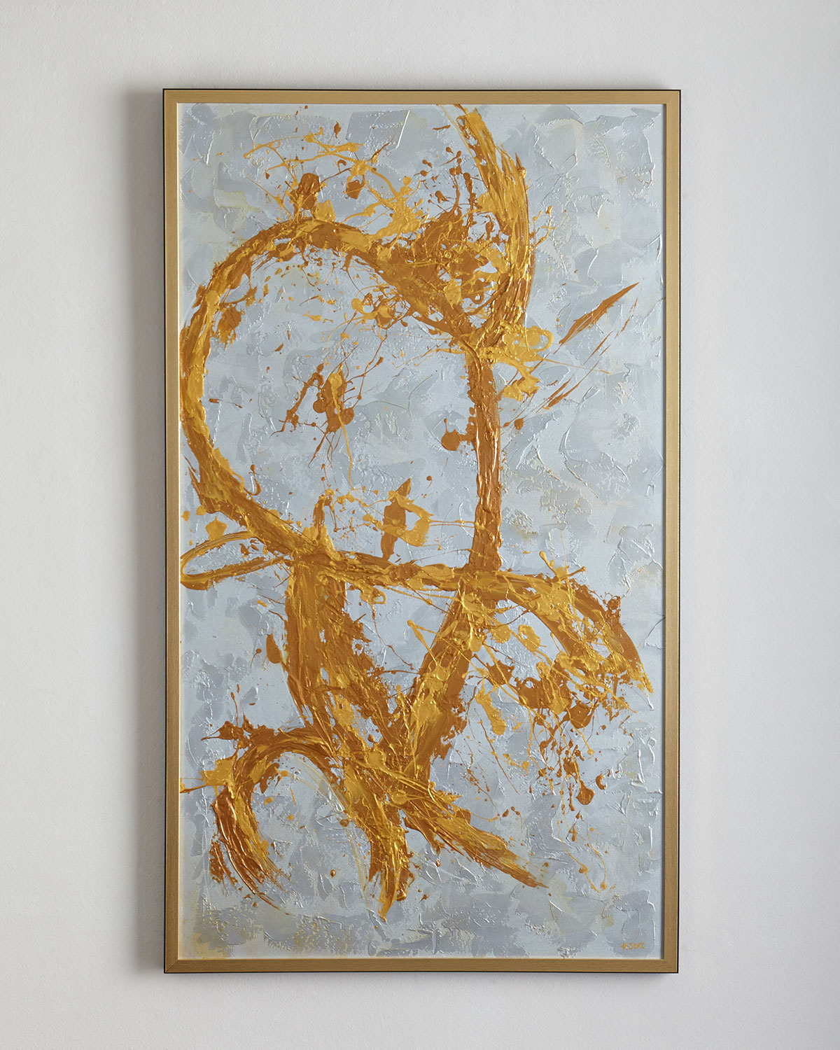 """Artist: Howard Scott. Original abstract splatter-style acrylic on canvas; only one available. 42.5""""W x 2""""D x 72.5""""T. Heavy texture. Wood frame. Handcrafted in the USA. Weight, 22 lbs. Boxed weight, approximately 70 lbs."""