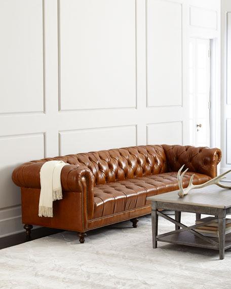"Massoud Davidson 119"" Tufted Seat Chesterfield Sofa"