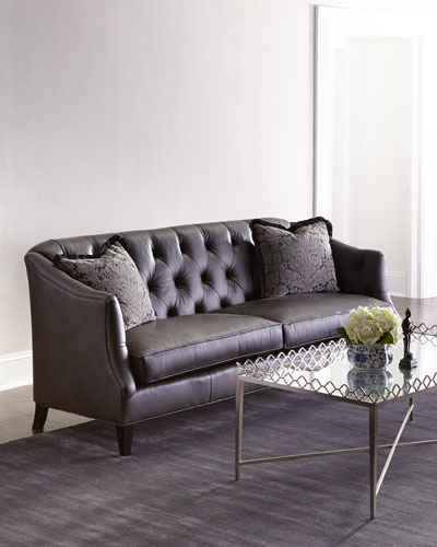 Adella Tufted Leather Sofa
