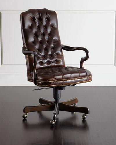 Blevens Tufted-Leather Office Chair