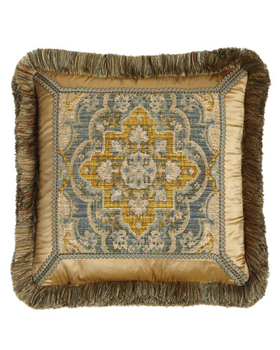 Reversible Aquitaine Pillow with Fringe, 18