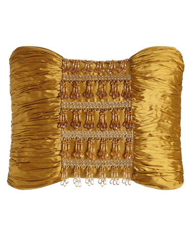 Royale Gold Silk Pillow with Beads, 13