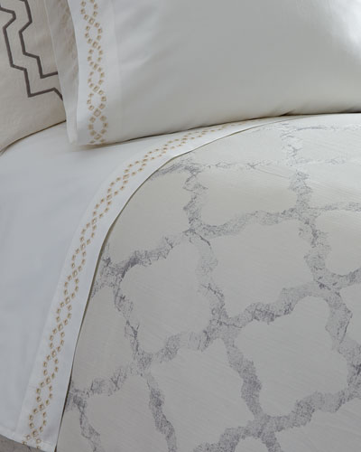 Queen Diamond Eyelet 400TC Flat Sheet