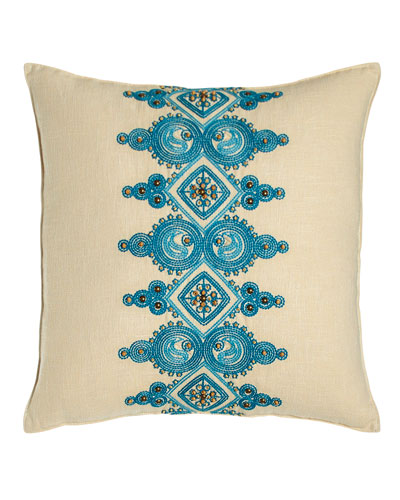 Catalina Paisley Pillow with Blue Embroidery at Center, 18