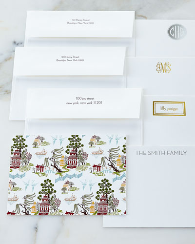 Chinoiserie Autumn Flat Cards with Personalized Envelopes