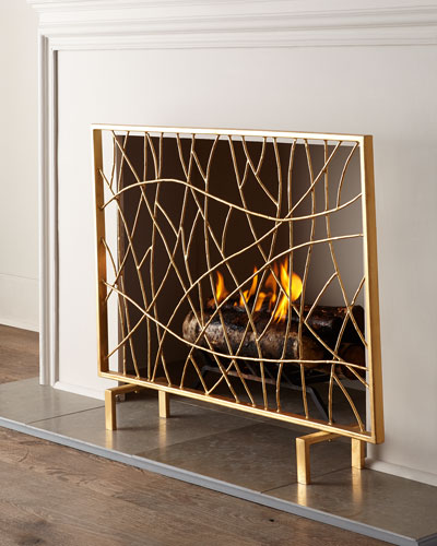 Modern Fireplace Screens Living Room Contemporary With: Handcrafted Gold Fireplace Screen