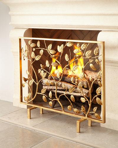 Bird Branch Fireplace Screen