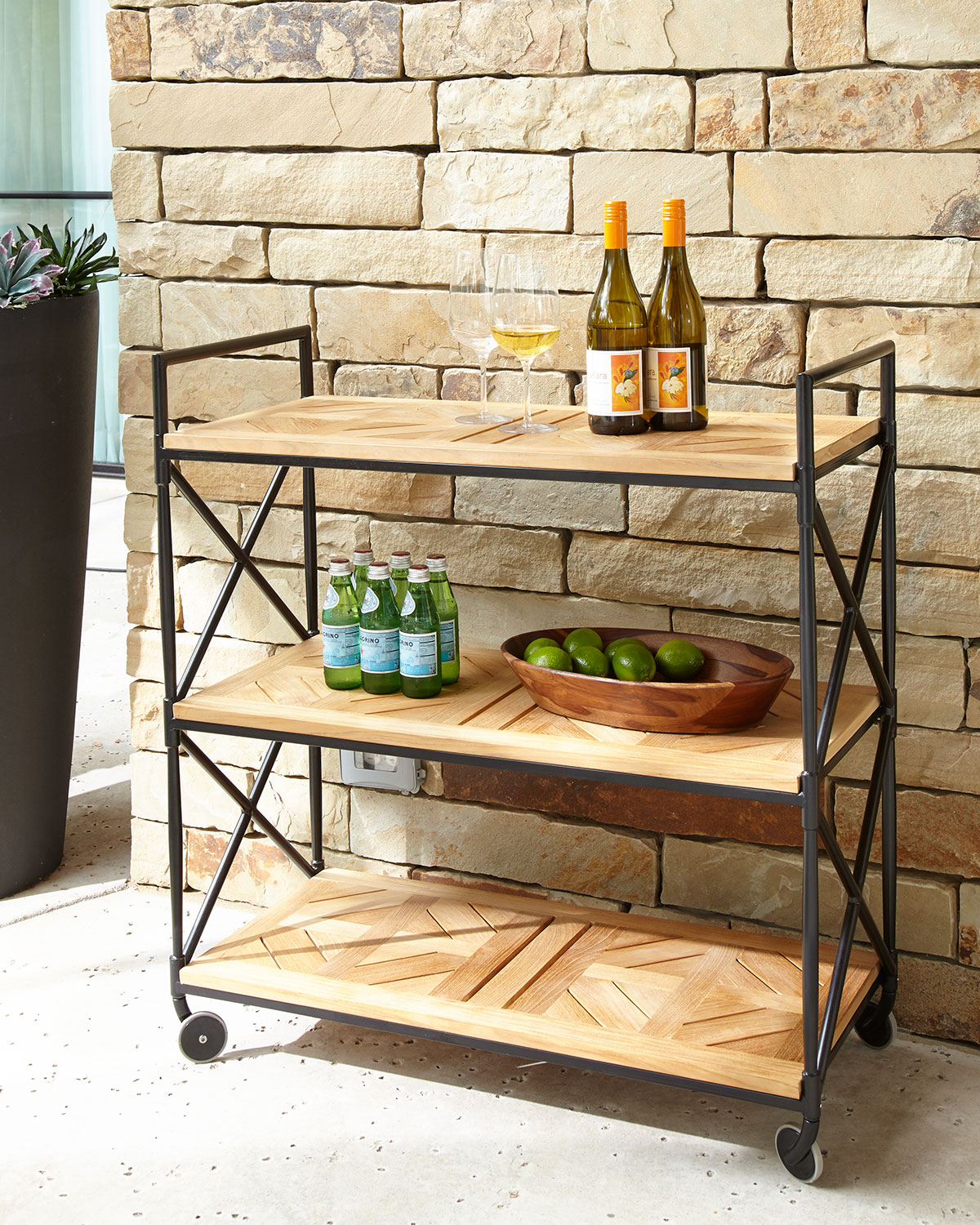 Neiman_marcus Avery Neoclassical Outdoor Bar Cart