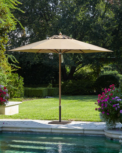 Taupe Keyhole Valance Outdoor Market Umbrella