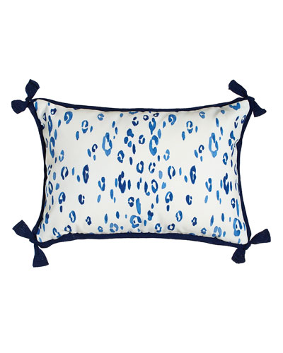 Navy Leopard Outdoor Lumbar Pillow