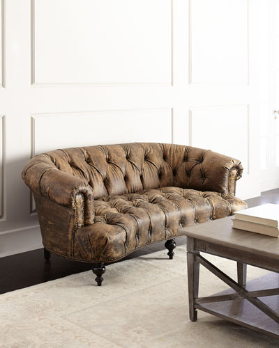 Carson Tufted Leather Sofa