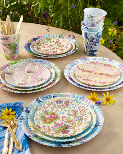 Paris Market Melamine Dinner Plates, 4-Piece Assorted Set