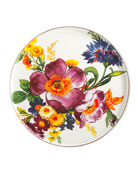 White Flower Market Round Tray