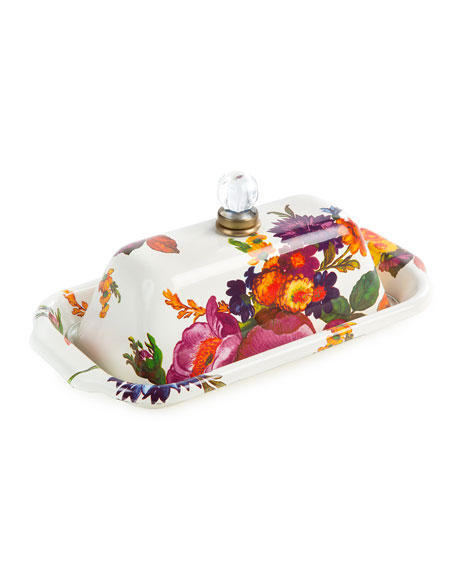 MacKenzie-Childs White Flower Market Butter Box