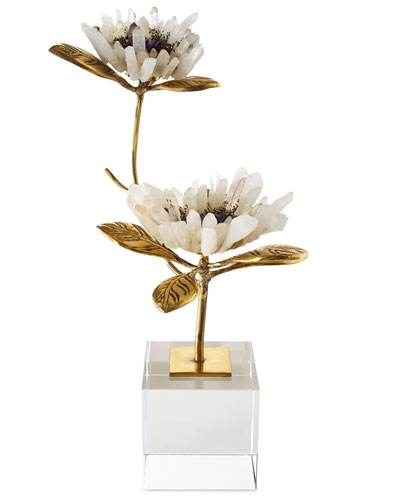 Double Crystal Bloom Floral Sculpture