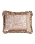 "Dahlia Pieced Pillow with Fringe, 16"" x 24"""