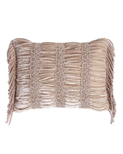 Dahlia Ruched Velvet Pillow, 12