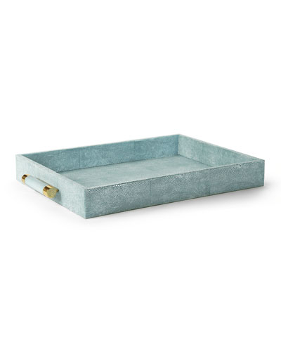 Classic Faux-Shagreen Serving Tray