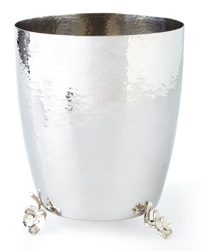 WHITE ORCHID WASTE BASKET